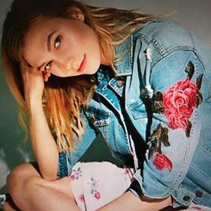 Express Rose Embroidery Boyfriend Jean Jacket